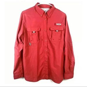 Columbia PFG Womens Button Front Shirt Pink Vented